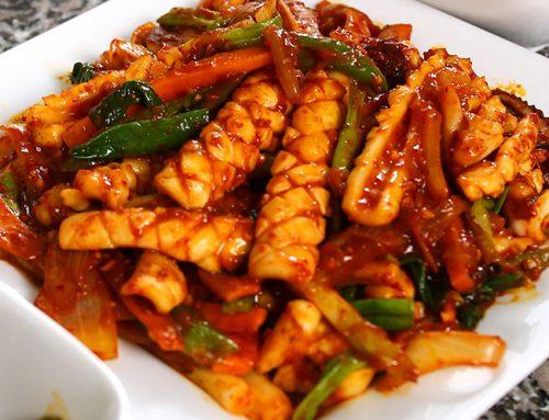 Serpenyőben sült csípős tintahal – ojingeo-bokkeum